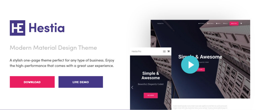 Best WordPress Themes - Hestia theme